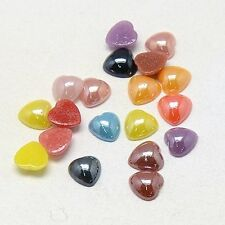 New Glass Cabochons Pearlized Heart Mixed Color Jewl Scrapbooking Embellishment