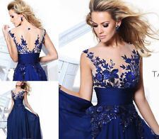 Sexy New Long Blue Applique Evening Gown Formal Party Cocktail Prom Dresses