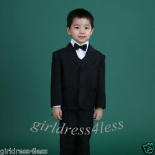 BLACK BOY 5PCS TUXEDO FORMAL SUIT JACKET SET 6-12M 18M 2 3 4 5 6 7 8 10 12 14 16