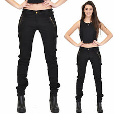 New Ladies Womens Black Slim Fitted Stretch Combat Pants Skinny Cargo Trousers