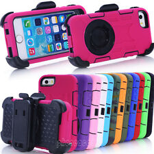 Shockproof Rugged Hybrid Case Cover w/ Belt Clip Holster For Apple iPhone 5 5S