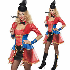 Adult Ringmaster Costume Sexy Lion Tammer Circus Clown Dress + Hat  XS S M L XL