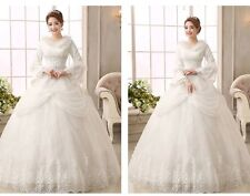 Fashion Winter Wedding Dresses Lace Long Sleeve Lace Up Bridal Ball Gown