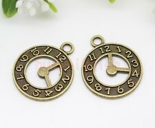 15/30/60pcs Zinc alloy two-sided clock Jewelry Finding Charm Pendant 21x18mm