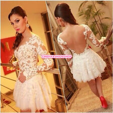 Sexy Women Lace Hollow Embroidery Long Sleeve Cocktail Evening Short Mini Dress