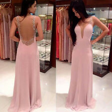 Womens Sleeveless Sexy Long Formal Ball Cocktail Prom Party Dress Evening Gown