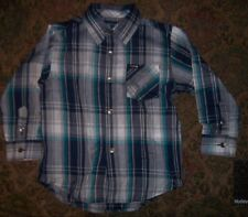NEW HURLEY long sleeve button down front shirt boys  sz 2T or 3T blue gray plaid