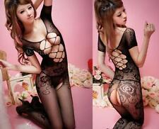 Sexy Lady Black Crotchless Fish Net Body Stocking Bodysuit Lingerie Nightwear LS
