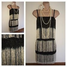 Miss Selfridge Flapper vintage 20's Gatsby Fringe Tassel fancy Dress in 4 - 16