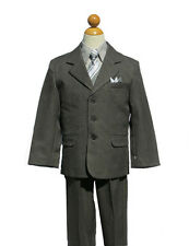 BOY SUIT SET PINSTRIPES, Charcoal/Gray, SZ: 12,16