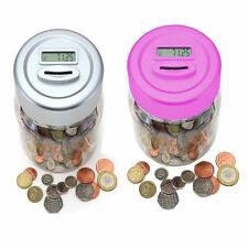 DIGITAL COIN COUNTER JAR MONEY SAVING BOX COUNTERS COUNTS COINS LCD DISPLAY