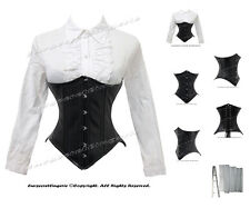 Double Steel Boned Waist Training Faux Leather Underbust Shaper Corset #8033-159