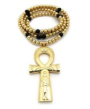 Gold & Black Bead Chain Necklace Egyptian Ankh Cross Pendant Charm Mens Jewelry