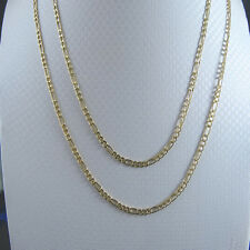 MENS LADIES 10K REAL YELLOW GOLD FIGARO CUBAN LINK CHAIN NECKLACE 3MM 16~26 INCH