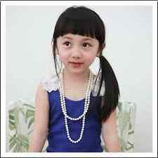 Beautiful White or Pink Pearl Girl Children Sweater Long Necklace Jewelry
