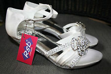 CHILDRENS GIRLS KIDS LOW HIGH HEEL DIAMANTE PARTY SHOES BRIDESMAID VARIOUS SIZES