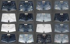 HOLLISTER BY ABERCROMBIE WOMENS JEAN SHORTS DENIM CLASSIC MIDI WHITE DESTROYED