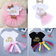 1st Birthday Outfits Baby Girl Toddler Top T-shirt+Tutu Skirt Party Dress UP
