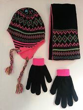 WINTER 3 PIECE HAT, GLOVE AND SCARF SET WITH FLEECE LINING (SIZE 4-14)