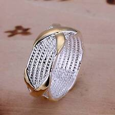 women's/men's rings fashion jewelry 925 solid silver gold X rings size 6-9 R013