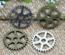 15pcs Antique Silver/Bronze Lovely Filigree Gear Jewelry Charms Pendant 20mm
