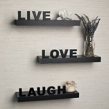 Live Love Laugh Decorative Wall Shelves Set of 3 Inspirational Home Decor Shelf
