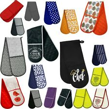 Amazing New Double Oven Glove 100% Cotton Insulated Home Kitchen Various Design