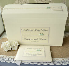 Personalised Wedding Guest Book & Chest Post Box Set - Rose & Pearl Lace Design