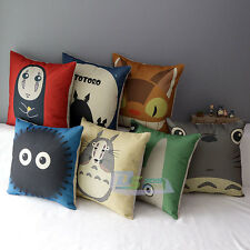 Lovely Cartoon Totoro Pillow Case Cushion Cover Linen Sofa Bed Home Decor 1pc