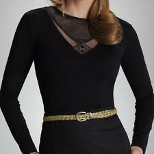"""Black Womens Top Blouse T-shirt Long Sleeved """"Aisha"""" with Lace Neckline"""