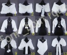 Wedding Bridal Faux Fur Bolero Shrug Wrap  Cap Jacket Coat Wedding Accessories