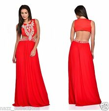 RED PEARL CRYSTAL DIAMANTE CUT OUT WAIST GRECIAN MAXI GOWN DRESS 8-16