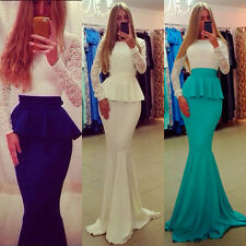 Lady Lace Bridal Wedding Party Ball Prom Gown Formal Evening Dress Size S/M/L