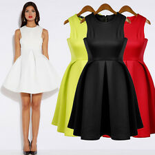 Women Candy Color Dress Umbrella skirt Casual Career Party cocktail Mini Dress