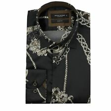 Mens Designer Gold Black Printed Italian Style Smart Casual Slim Fit Shirt