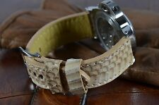 MA WATCH STRAP 24MM GENUINE COBRA SNAKE LEATHER HANDMADE BAND SPAIN NATURAL SAND