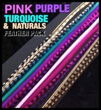 Real Feather Hair Extensions Grizzly Naturals Pink Purple Blue 20pc 4FREE X-XXXL