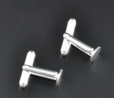 Wholesale New Silver Plated HOTSELL Flat Round Pad Cuff links 25x8mm