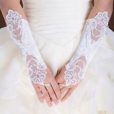 New  Bride Wedding Party Dress Fingerless Pearl Lace Satin Bridal Gloves