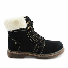 NEW LADIES WOMENS FUR LACE UP COMFY ANKLE BOOT SHOES SIZE 3 4 5 6 7 8
