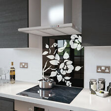 Premier Range Black Floral Toughened Safety Glass Splashback