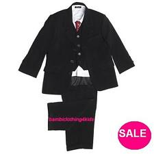 CLEARANCE (WAS £12.99- £28.99)VIVAKI BOYS BLACK 5 PC SUIT,TROUSERS OR WAISTCOAT