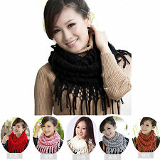 New Women Warm Infinity 2 Circle Cable Knit Cowl Neck Long Tassel Scarf Shawl 41