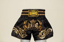 TOP KING MUAY THAI BOXING SHORTS, Free Shipping TKTBS-095 BlackGold MMA K1