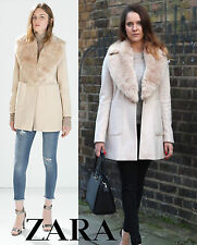 ZARA *Wool Coat With Patch Pockets And Fur Lapel* NEW_SIZE_XS_S_M_L_XL