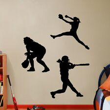 Softball Girls Players Wall Decals - Sports Vinyl Stickers Graphics