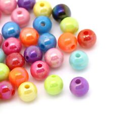 Wholesale HOT! Jewelry Spacer Beads Acrylic Mixed AB Color Round 6mm Dia