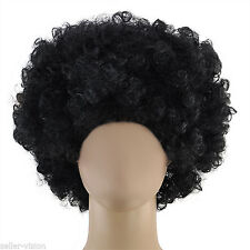 Mens Womens Brown Afro Curly Wig Fancy Dress 118 118 Disco 70's Clown Party Fun