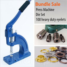 100 Heavy Duty Eyelets + Press Machine Punch Tool Set Leather Craft Sewing 12mm
