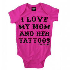 Kid's Cartel Ink I Love My Mom and Her Tattoos Infant One Piece Baby Pink Inked